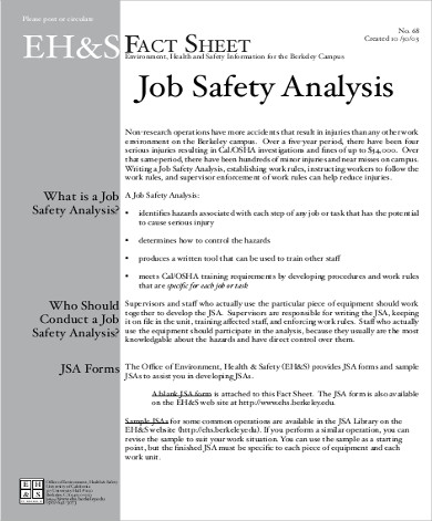 Job Safety Analysis Template  NodeResumeTemplatePaasproviderCom