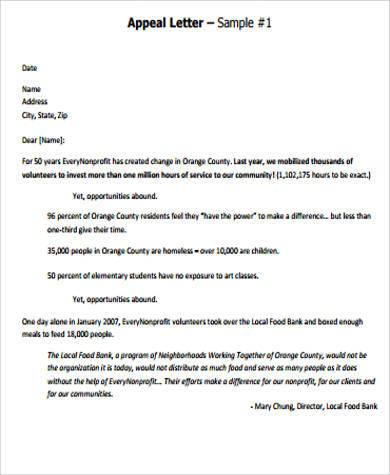 8+ Sample Appeal Letters Sample Templates - sample appeal letter