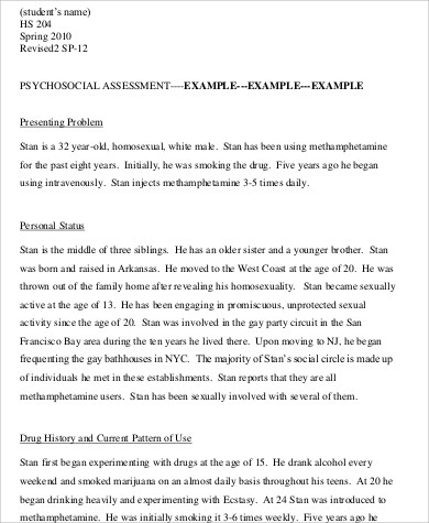 8+ Psychosocial Assessment Example - Free Sample, Example, Format