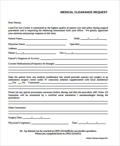 10+ Sample Medical Clearance Forms Sample Templates - medical clearance forms