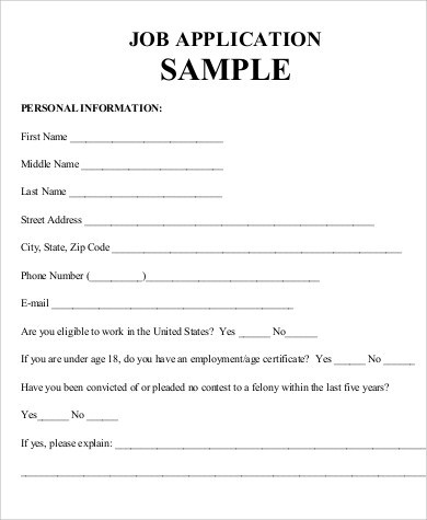 7+ Practice Job Application Samples Sample Templates - blank employment application