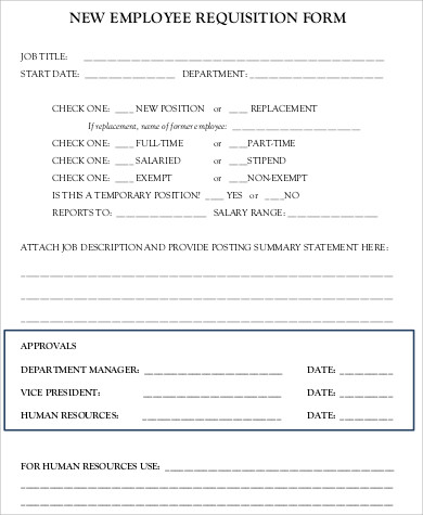 8+ Sample Employee Requisition Forms Sample Templates