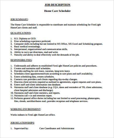 11+ Scheduler Job Description Samples Sample Templates - scheduling coordinator job description