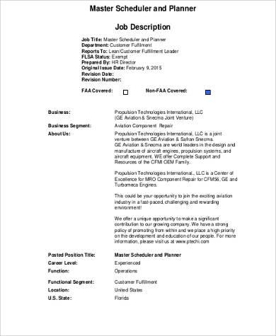 Master Scheduler Job Description Sample - 8+ Examples in Word, PDF