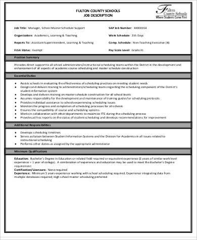 Master Scheduler Job Description Wiring Schematic Diagram