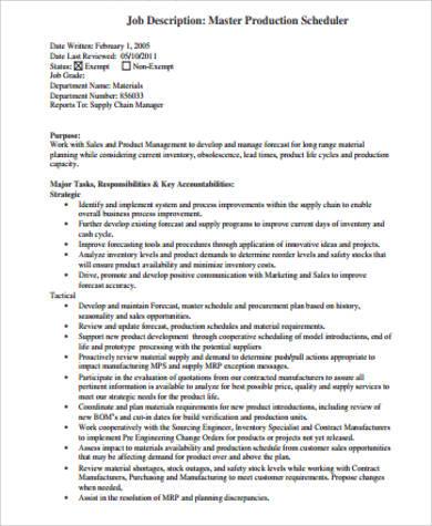 Production Scheduler Job Description Sample - 7+ Examples in Word, PDF