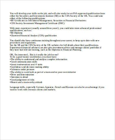6+ Stock Broker Job Description Samples Sample Templates