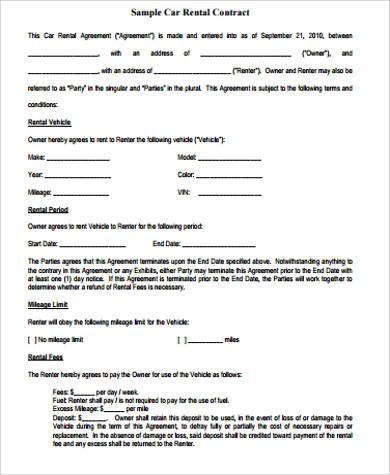 car agreement - Apmayssconstruction