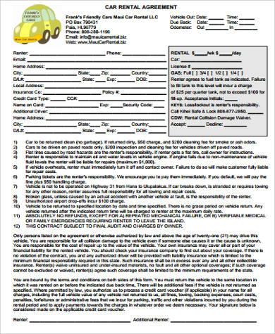 7+ Car Rental Agreement Samples Sample Templates - printable rental agreement