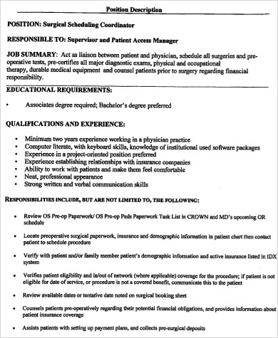 6+ Surgery Scheduler Job Description Samples Sample Templates - scheduling coordinator job description