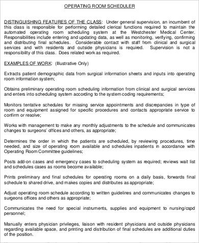 Surgery Scheduler Job Description Sample - 6+ Examples in Word, PDF