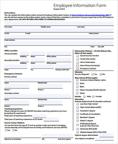 11+ Sample Employee Forms Sample Templates - employee information form