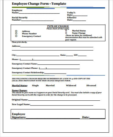... Employee Form   11+ Examples In Word, PDF   Sample Employee Form ...
