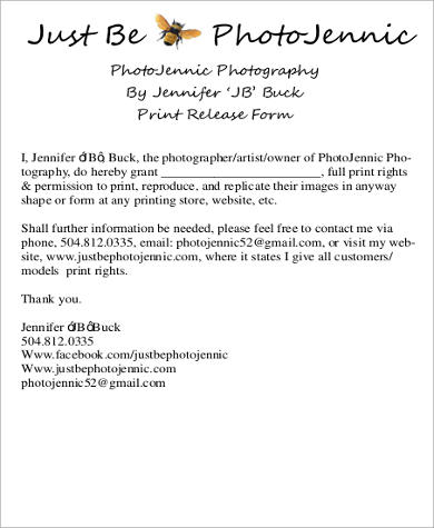8+ Print Release Form Samples Sample Templates - photographer release form
