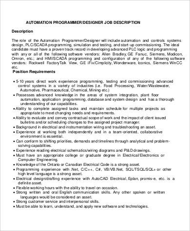 12+ Programmer Job Description Samples Sample Templates - programmer job description