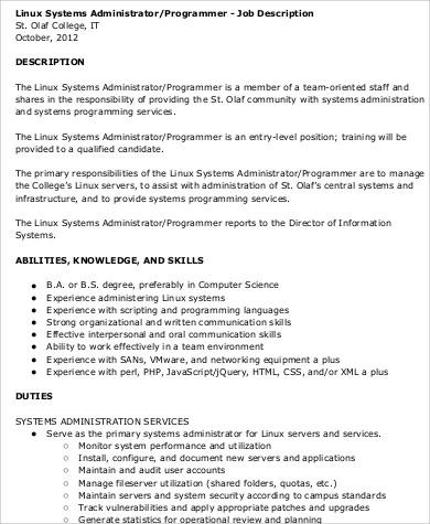Programmer Job Description Sample - 12+ Examples in Word, PDF - system programmer job description