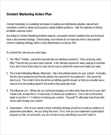 Content Marketing Plan Sample - 7+ Examples in Word, PDF - marketing action plan template