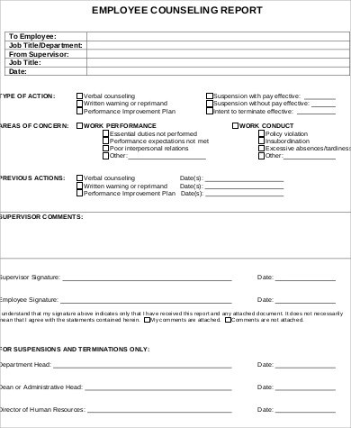 Sample Employee Counseling Form - 9+ Examples in Word, PDF