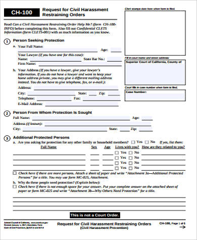 Sample Restraining Order Form - 7+ Examples in Word, PDF