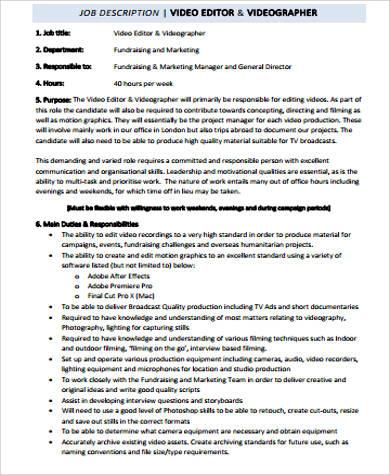 10+ Editor Job Description Samples Sample Templates - video editor job description