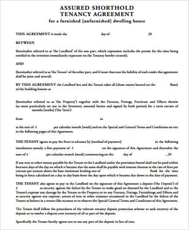 8+ Sample Tenancy Agreements Sample Templates - lease agreement in pdf