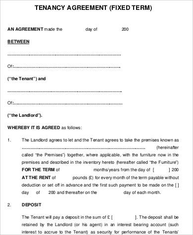Sample Tenancy Agreement   8+ Examples In Word, PDF   Free Printable Tenancy  Agreement