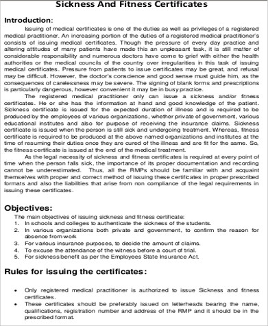 Sample Medical Certification Form - 6+ Examples in Word, PDF - medical certificate for sick leave