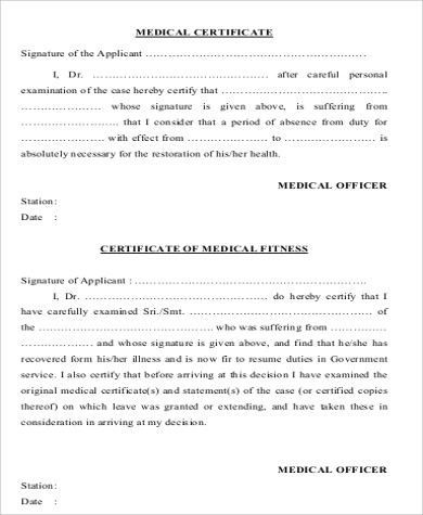 6+ Sample Medical Certification Forms Sample Templates