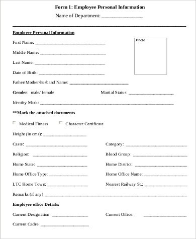 ... Sample Employee Details Form   10+ Examples In Word, PDF   Sample Employee  Form ...