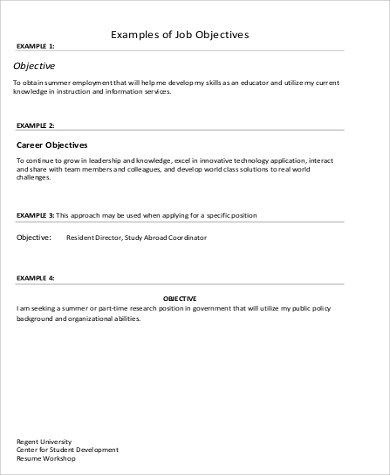 8+ Job Objective Samples Sample Templates