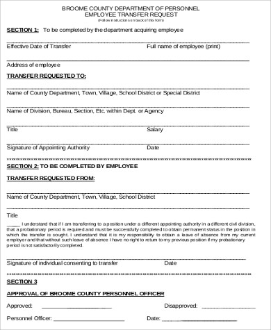 Sample Employee Transfer Form - 9+ Examples in Word, PDF - employee requisition form