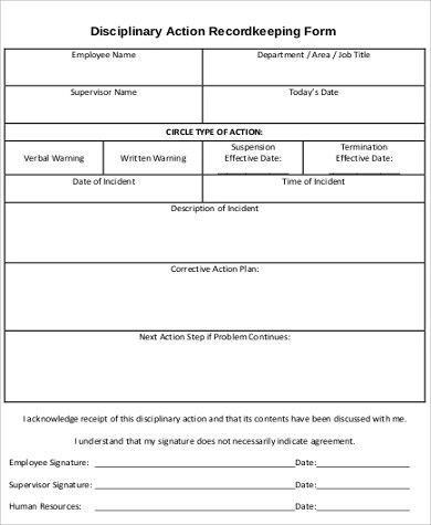 Sample Employee Disciplinary Action Form - 7+ Examples in Word, PDF - action form in pdf