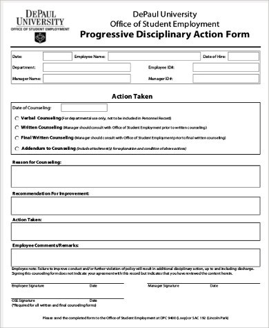 Employee Discipline Form Employee Write Up Form Templates - disciplinary memo template