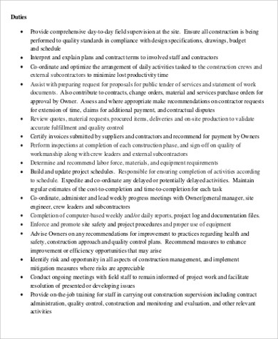 Construction Management Job Description Sample - 8+ Examples in Word