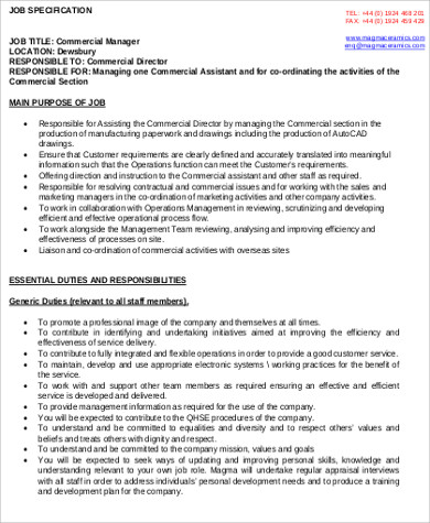 Commercial Manager Job Description Shares Tags Commercial Manager