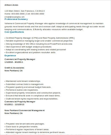 Commercial Property Management Resume Samples | Create