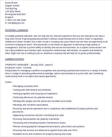 8+ Sample Property Management Resumes Sample Templates - managment resumes