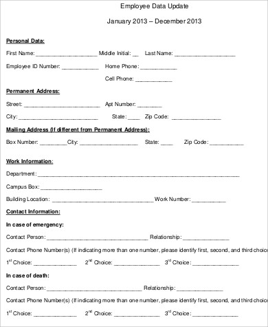 Sample Employee Information Form | Sample Resume For Customer Service