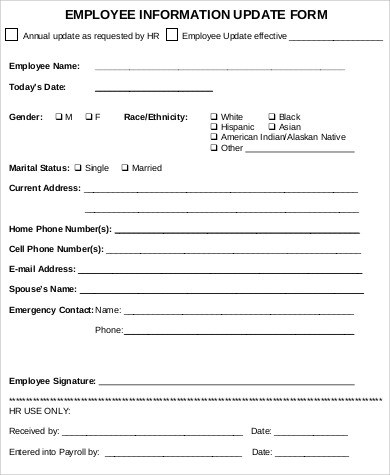 9+ Sample Employee Update Forms Sample Templates - employee update form
