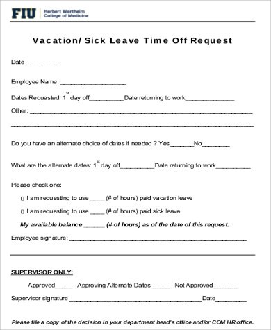 Request for Time Off Form Sample - 6+ Examples in Word, PDF - request for time off form