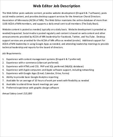 9+ Web Editor Job Description Samples Sample Templates