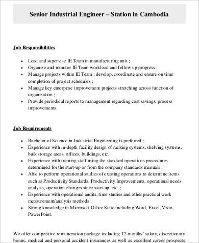 Industrial Engineer Job Description Sample - 8+ Examples in Word, PDF - manufacturing engineer job description