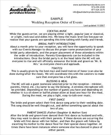 8+ Wedding Agenda Sample - Free Sample, Example, Format Download
