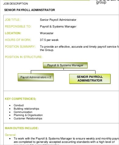 payroll administrator job description payroll and benefits payroll administrator job description