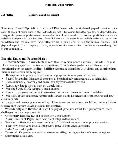 Payroll Specialist Job Description Sample - 8+ Examples in Word, PDF - payroll specialist job description