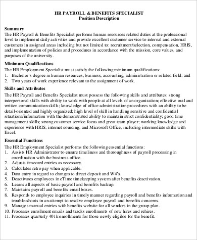 job description for payroll specialist