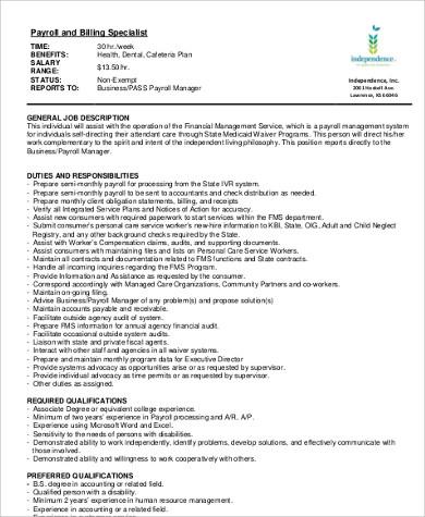 Attractive Job Description For Payroll Specialist