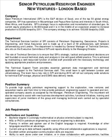 Petroleum Engineer Job Description Sample - 6+ Examples in Word, PDF - petroleum engineer job description