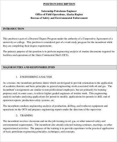 Petroleum Engineer Job Description Sample 6 Examples In Word Pdf Environmental  Engineer   Duties Of A