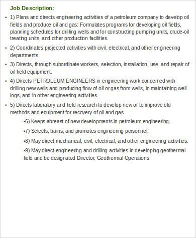 Chief Engineer Job Description Example Chief Engineer Job - petroleum engineer job description
